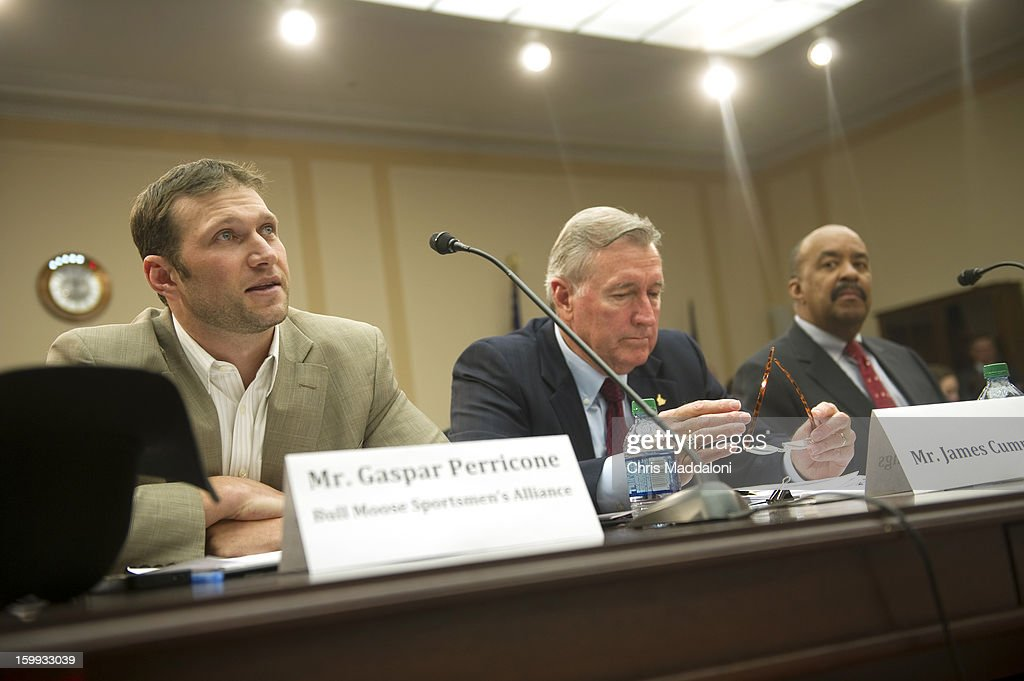 Gaspar Perricone, president of the Bull Moose Sportsmen's Alliance; James Cummings, hunter, sportsman, gun owner and NRA member ; and Robert Ross, president and CEO of The California Endowment, testify at a Congressional Gun Violence Prevention Task Forcehearing on the comprehensive steps that Congress can take to reduce gun violence - while also respecting the 2nd Amendment rights of law-abiding citizens.