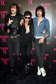 Gaspard Auge and Xavier de Rosnay of Justice and graffiti artist Andre arrive at the Belvedere IX Launch Party on February 5 2009 in Hollywood...
