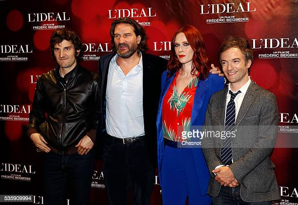 Gaspard Proust Frederic Begbeider Audrey Fleurot and Jonathan Lambert attend the 'L'Ideal' Paris Premiere at Le Grand Rex on May 30 2016 in Paris...