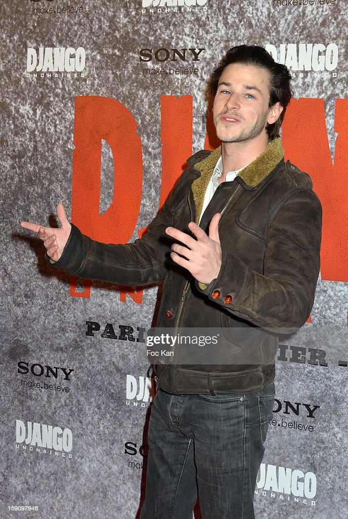 Gaspard Ulliel attends the 'Django Unchained' Paris premiere red carpet arrival at Le Grand Rex on January 7, 2013 in Paris, France.