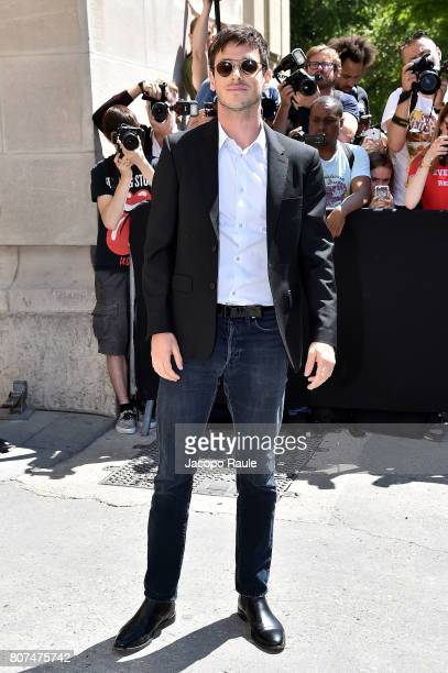 Gaspard Ulliel is seen arriving at the 'Chanel' show during Paris Fashion Week Haute Couture Fall/Winter 20172018 on July 4 2017 in Paris France