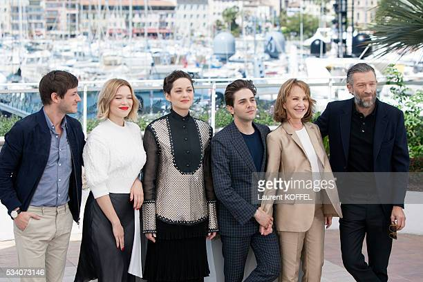 Gaspard Ulliel Léa Seydoux Marion Cotillard Xavier Dolan Nathalie Baye and Vincent Cassel attend the 'It's Only The End Of The World ' Photocall...