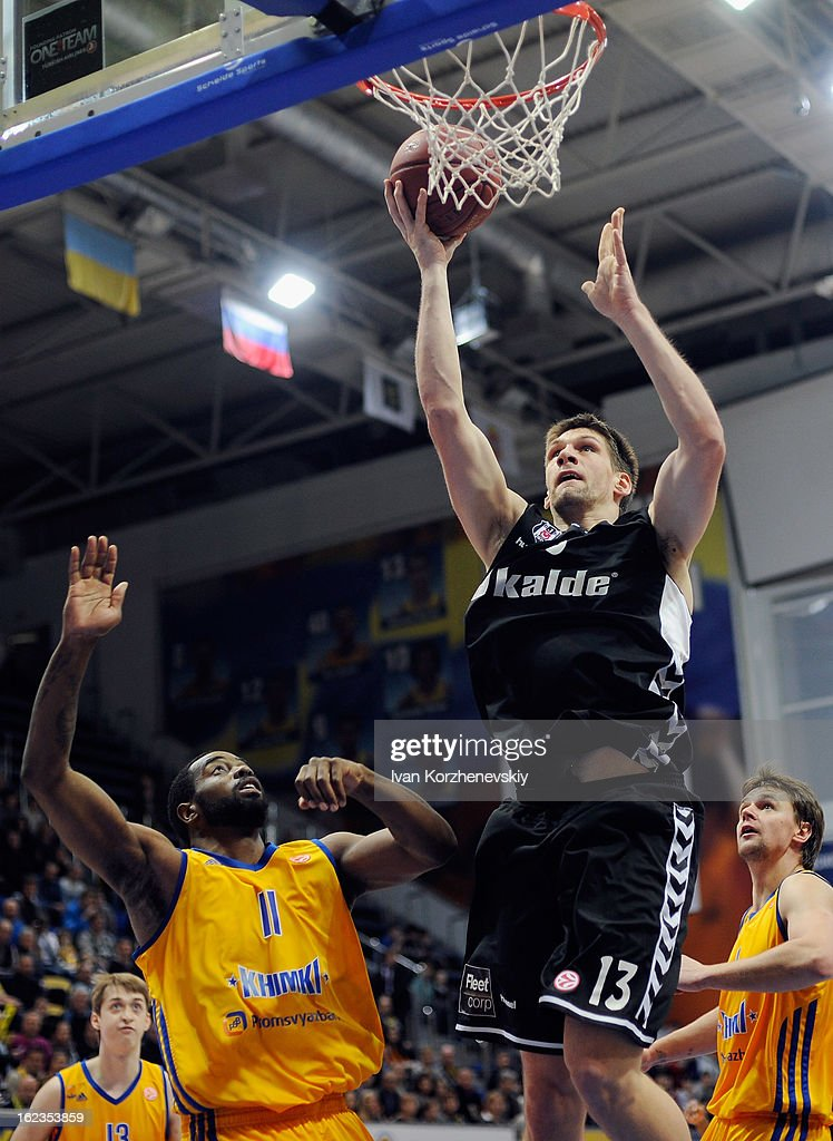 Gasper Vidmar, #13 of Besiktas JK Istanbul competes with Kelvin Rivers, #11 of BC Khimki Moscow Region during the 2012-2013 Turkish Airlines Euroleague Top 16 Date 8 between BC Khimki Moscow Region v Besiktas JK Istanbul at Basketball Center of Moscow on February 22, 2013 in Moscow, Russia.