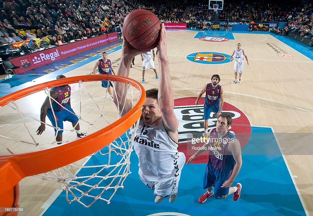 Gasper Vidmar, 13# of Besiktas JK Istanbul in action during the 2012-2013 Turkish Airlines Euroleague Top 16 Date 11 between FC Barcelona Regal v Besiktas JK Istanbul at Palau Blaugrana on March 15, 2013 in Barcelona, Spain.