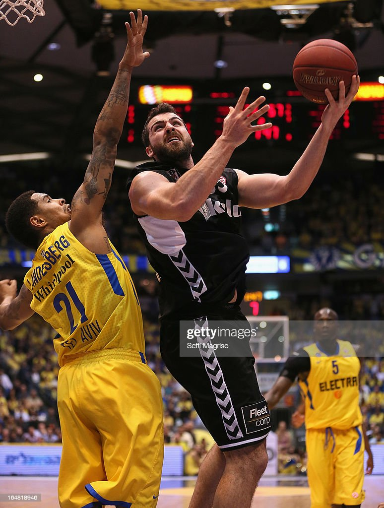 Gasper Vidmar, 13# of Besiktas JK Istanbul in action during the 2012-2013 Turkish Airlines Euroleague Top 16 Date 13 between Maccabi Electra Tel Aviv v Besiktas JK Istanbul at Nokia Arena on March 28, 2013 in Tel Aviv, Israel.