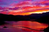 Gassan lake at sunset, Yamagata Prefecture, Japan