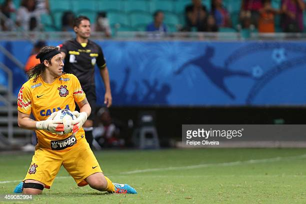 Gassio of Corinthians in action during the match between Bahia and Corinthians as part of Brasileirao Series A 2014 at Arena Fonte Nova on November...