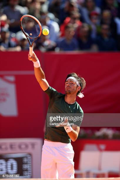 Gastao Elias from Portugal in action during the match between Gastao Elias and Malel Jaziri for Millennium Estoril Open at Clube de Tenis do Estoril...