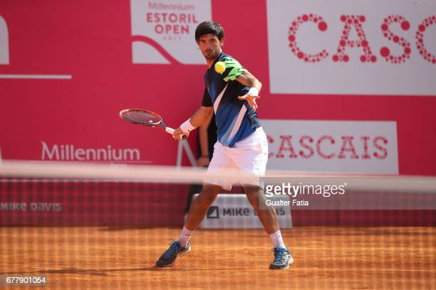 Gastao Elias in action during the match between Gastao Elias from Portugal and Nicolas Almagro from Spain for Millennium Estoril Open at Clube de...