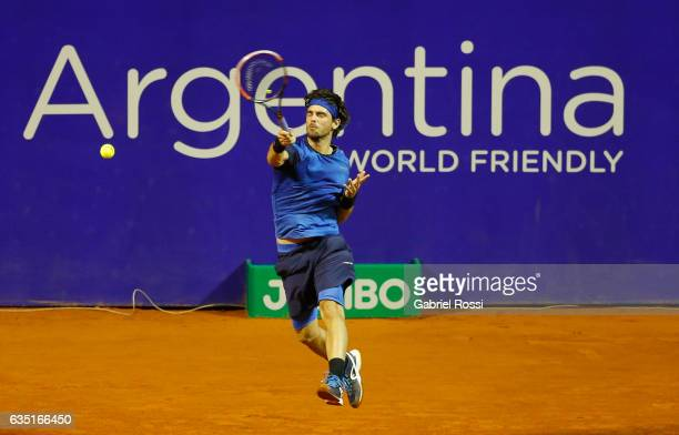 Gastao Elias of Portugal takes a forehand shot during a first round match between Leonardo Mayer of Argentina and Gastao Elias of Portugal as part of...
