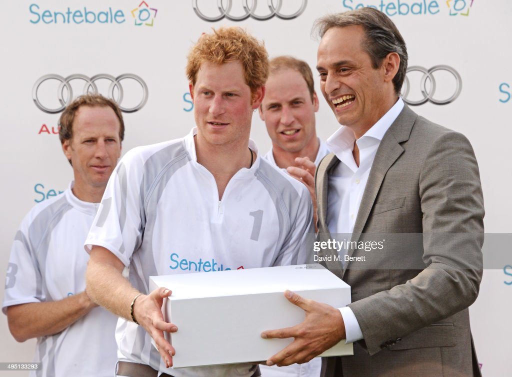 Gaston Laulhe, <a gi-track='captionPersonalityLinkClicked' href=/galleries/search?phrase=Prince+Harry&family=editorial&specificpeople=178173 ng-click='$event.stopPropagation()'>Prince Harry</a>, <a gi-track='captionPersonalityLinkClicked' href=/galleries/search?phrase=Prince+William&family=editorial&specificpeople=178205 ng-click='$event.stopPropagation()'>Prince William</a>, Duke of Cambridge and Andre Konsbruck, Director of Audi UK, attend day two of the Audi Polo Challenge at Coworth Park Polo Club on June 1, 2014 in Ascot, England.