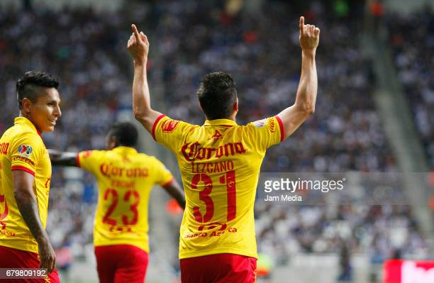 Gaston Lezcano of Morelia celebrates his goal during the 17th round match match between Monterrey and Morelia as part of the Torneo Clausura 2017...