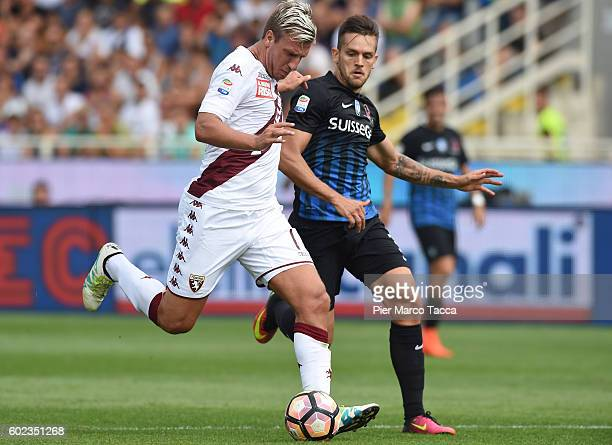 Gaston Maxi Lopez of FC Torino competes for the ball during the Serie A match between Atalanta BC and FC Torino at Stadio Atleti Azzurri d'Italia on...