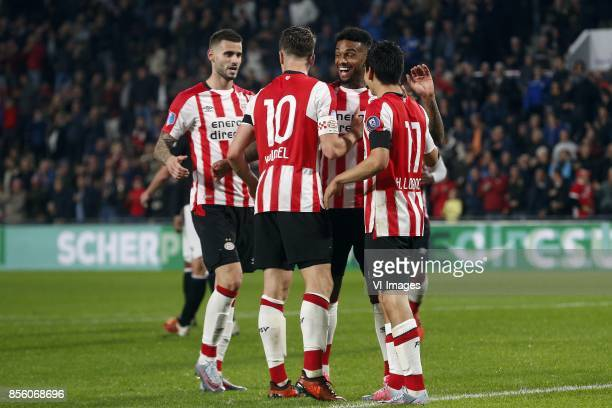 Gaston Pereiro of PSV Marco van Ginkel of PSV Jurgen Locadia of PSV Hirving Lozano of PSV during the Dutch Eredivisie match between PSV Eindhoven and...