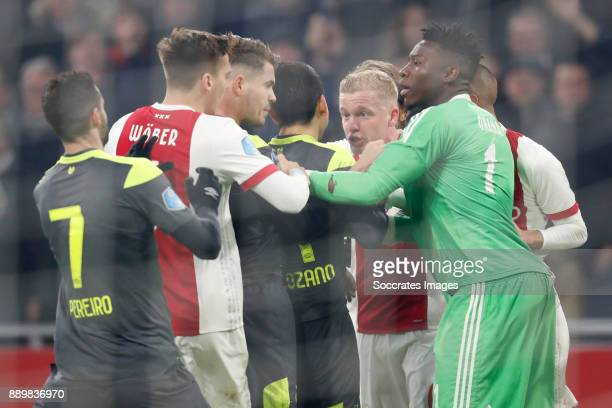 Gaston Pereiro of PSV Maximilian Wober of Ajax Marco van Ginkel of PSV Hirving Lozano of PSV Donny van de Beek of Ajax Andre Onana of Ajax during the...