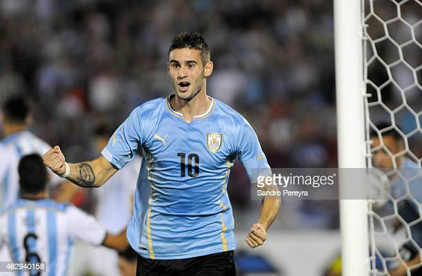 Gaston Pereiro of Uruguay celebrates after scoring the first team goal during a match between Argentina and Uruguay as part of South American U20 at...