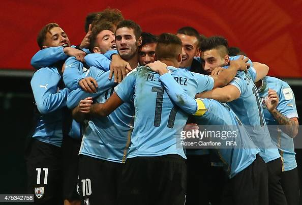 Gaston Pereiro of Uruguay celebrates with team mates after scoring a goal during the FIFA U20 World Cup New Zealand 2015 Group D match between...