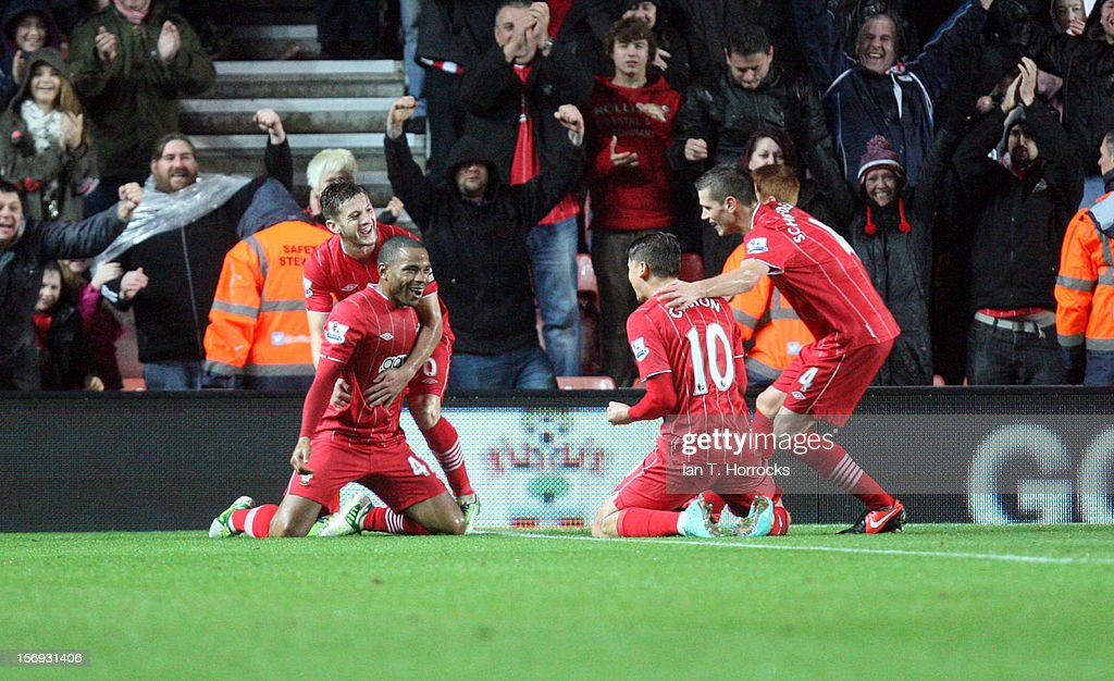 Gaston Ramirez (right) celebrates with team-mates after scoring the second Southampton goal during the Barclays Premier League match between Southampton and Newcastle United at St Mary's Stadium on November 25, 2012 in Southampton, England.