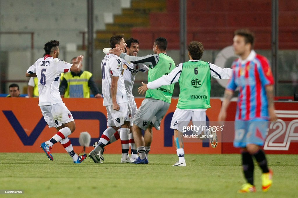 Gaston Ramirez of Bologna celebrates the victory goal during the Serie A match between Catania Calcio and Bologna FC at Stadio Angelo Massimino on...