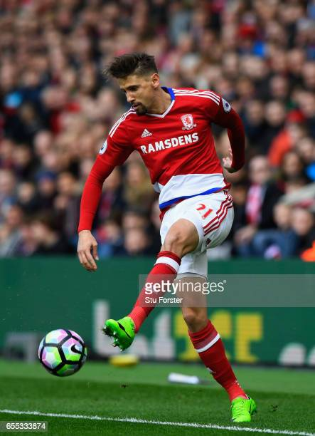 Gaston Ramirez of Boro in action during the Premier League match between Middlesbrough and Manchester United at Riverside Stadium on March 19 2017 in...