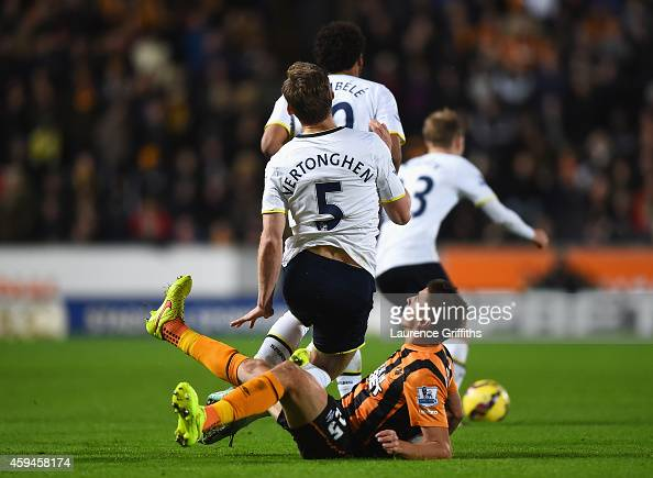 Gaston Ramirez of Hull City challenges Jan Vertonghen of Tottenham Hotspur leading to his sending off during the Barclays Premier League match...