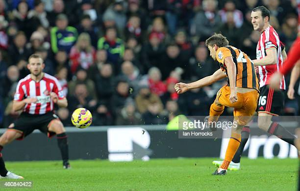 Gaston Ramirez of Hull City scores the first Hull goal during the Barclays Premier League match between Sunderland and Hull City at the Stadium of...
