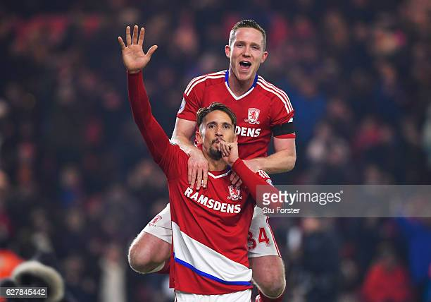 Gaston Ramirez of Middlesbrough celebrates with Adam Forshaw as he scores their first goal during the Premier League match between Middlesbrough and...