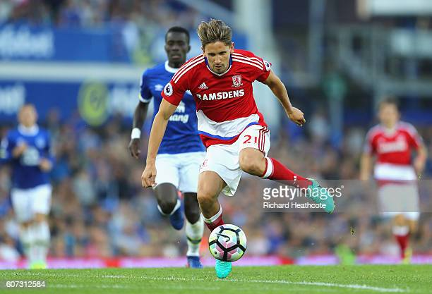 Gaston Ramirez of Middlesbrough in action during the Premier League match between Everton and Middlesbrough at Goodison Park on September 17 2016 in...