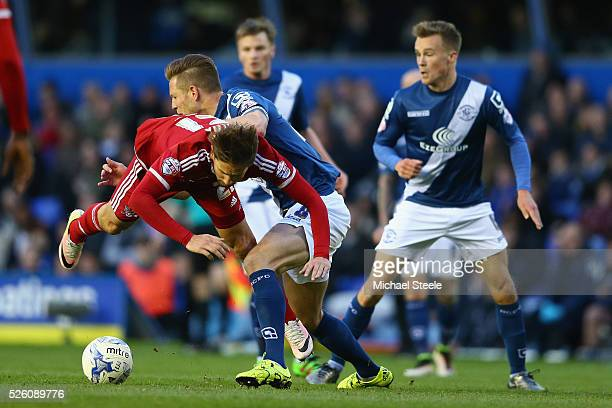 Gaston Ramirez of Middlesbrough is fouled by Michael Morrison of Birmingham City during the Sky Bet Championship match between Birmingham City and...