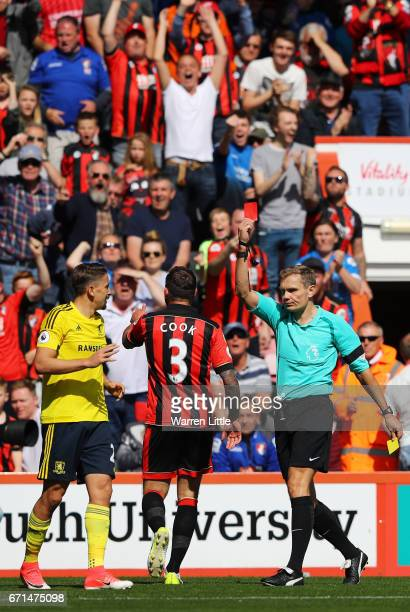 Gaston Ramirez of Middlesbrough is shown a red card during the Premier League match between AFC Bournemouth and Middlesbrough at the Vitality Stadium...