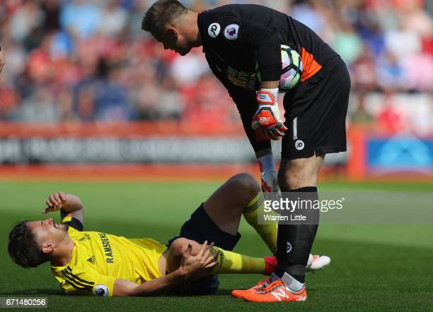 Gaston Ramirez of Middlesbrough lays on the floor following an injury during the Premier League match between AFC Bournemouth and Middlesbrough at...