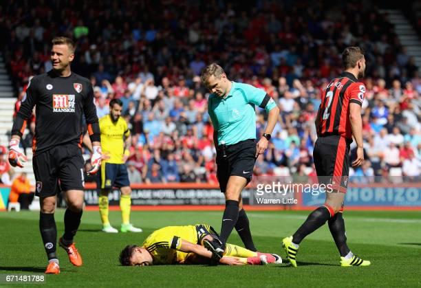 Gaston Ramirez of Middlesbrough lays on the floor following an injury prior to recieving a red card during the Premier League match between AFC...