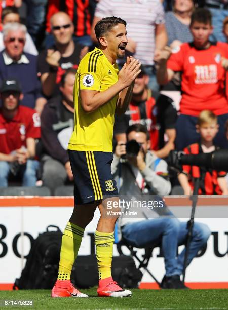 Gaston Ramirez of Middlesbrough reacts after being shown a red card during the Premier League match between AFC Bournemouth and Middlesbrough at the...