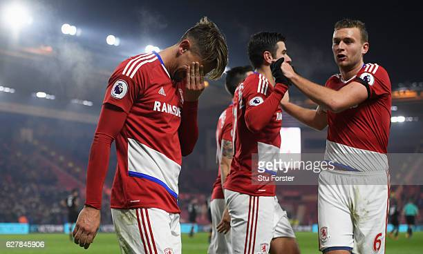 Gaston Ramirez of Middlesbrough reacts as he celebrates scoring their first goal with team mates during the Premier League match between...