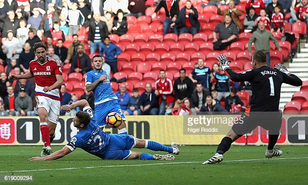 Gaston Ramirez of Middlesbrough scores the opening goal during the Premier League match between Middlesbrough and AFC Bournemouth at the Riverside...