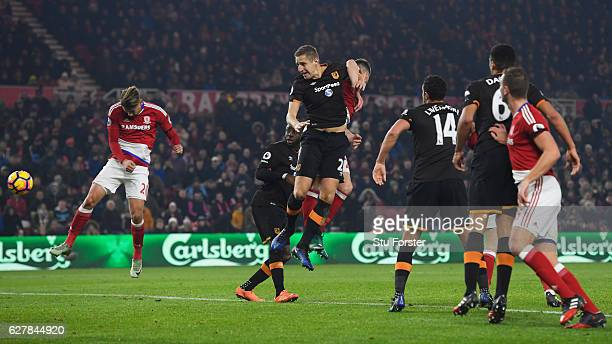 Gaston Ramirez of Middlesbrough scores their first goal during the Premier League match between Middlesbrough and Hull City at Riverside Stadium on...