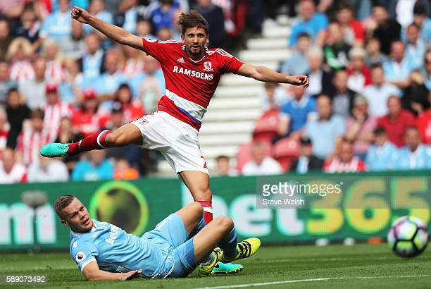Gaston Ramirez of Middlesbrough shoots during the Premier League match between Middlesbrough and Stoke City at Riverside Stadium on August 13 2016 in...