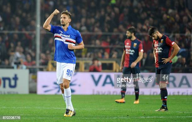 Gaston Ramirez of Sampdoria celebrates after scoring 01 during the Serie A match between Genoa CFC and UC Sampdoria at Stadio Luigi Ferraris on...