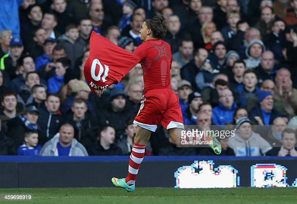 Gaston Ramirez of Southampton celebrates scoring his team's first goal during the Barclays Premier League match between Everton and Southampton at...