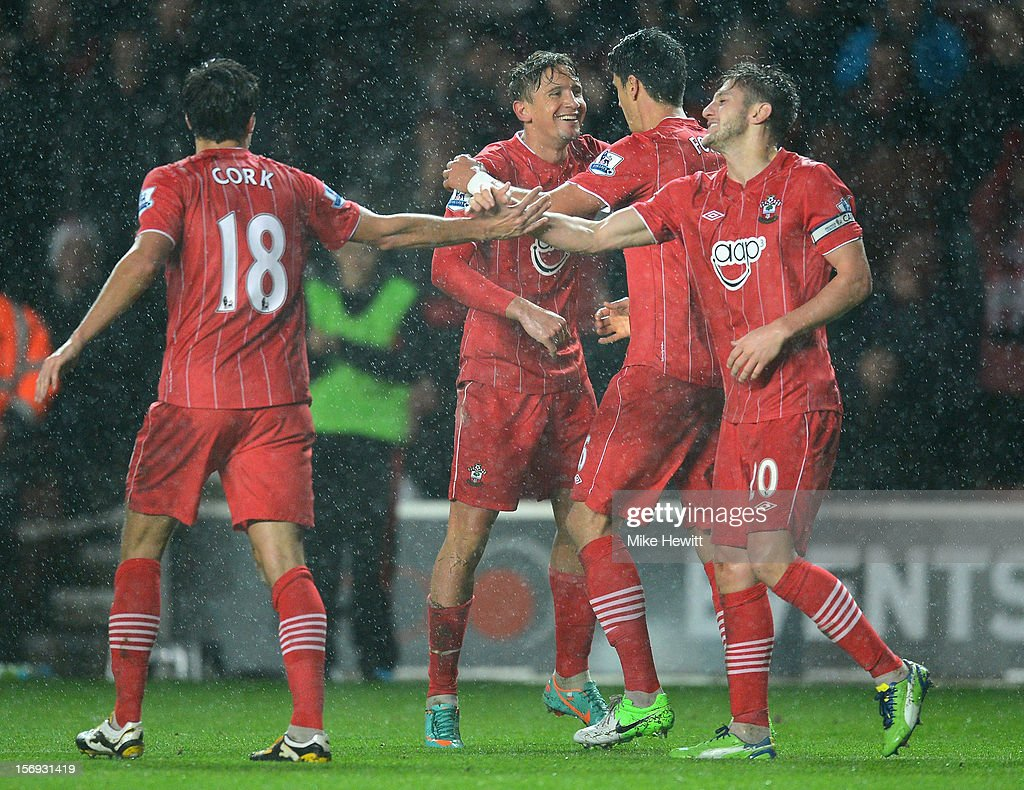 Gaston Ramirez (centre) of Southampton celebrates with team mates after scoring during the Barclays Premier League match between Southampton and Newcastle United at St Mary's Stadium on November 25, 2012 in Southampton, England.