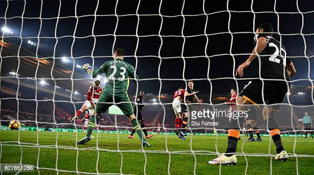 Gaston Ramirez scores the winning goal for Middlesbrough during the Premier League match between Middlesbrough and Hull City at Riverside Stadium on...