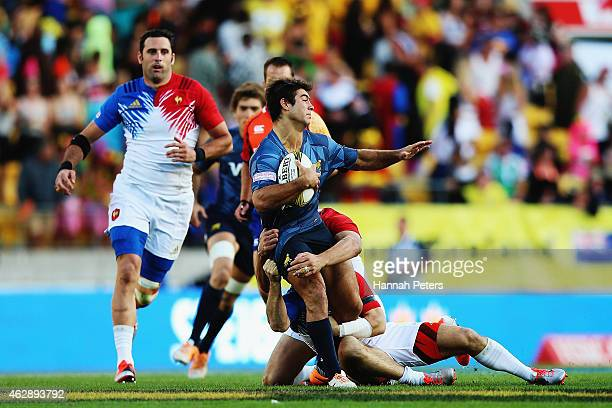 Gaston Revol of Argentina charges forward during the Bowl Final match between France and Argentina in the 2015 Wellington Sevens at Westpac Stadium...