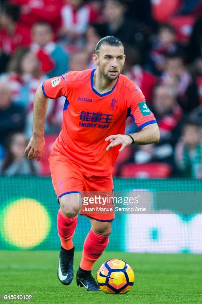 Gaston Silva of Granada CF controls the ball during the La Liga match between Athletic Club Bilbao and Granada CF at San Mames Stadium on February 26...