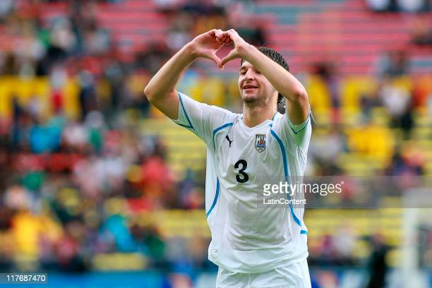 Gaston Silva of Uruguay celebrates a scored goal during the FIFA U17 World Cup Mexico 2011 Round of 16 match between Congo and Uruguay at the Morelos...