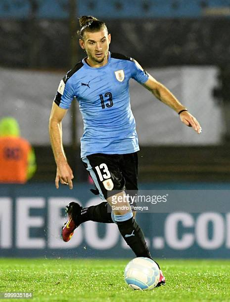 Gaston Silva of Uruguay drives the ball during a match between Uruguay and Paraguay as part of FIFA 2018 World Cup Qualifiers at Centenario Stadium...
