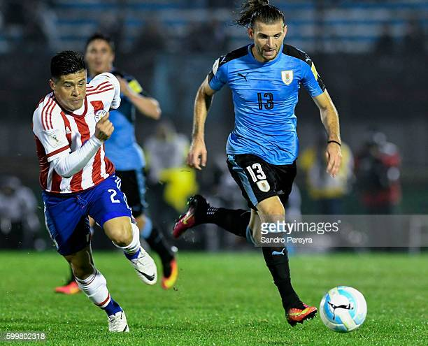 Gaston Silva of Uruguay runs after the ball during a match between Uruguay and Paraguay as part of FIFA 2018 World Cup Qualifiers at Centenario...