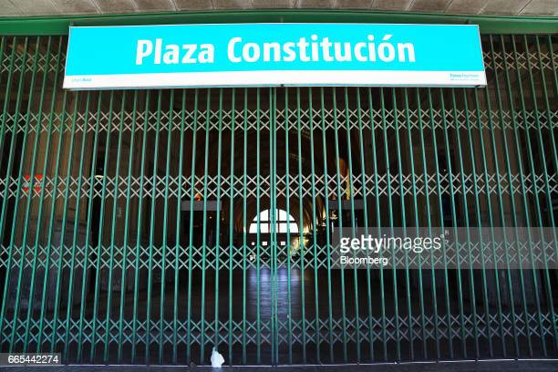 A gate blocks the entrance to Plaza Constitucion train station during a national strike in Buenos Aires Argentina on April 6 2017 Argentina was...