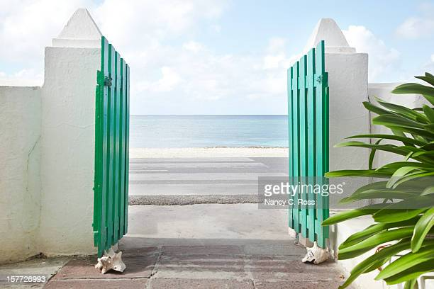 Gate Looking Out Onto Caribbean Sea