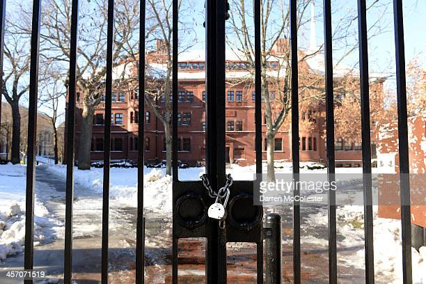 A gate sits locked on Quincy Street at Harvard University during a bomb scare December 16 2013 in Cambridge Massachusetts Police were alerted at...