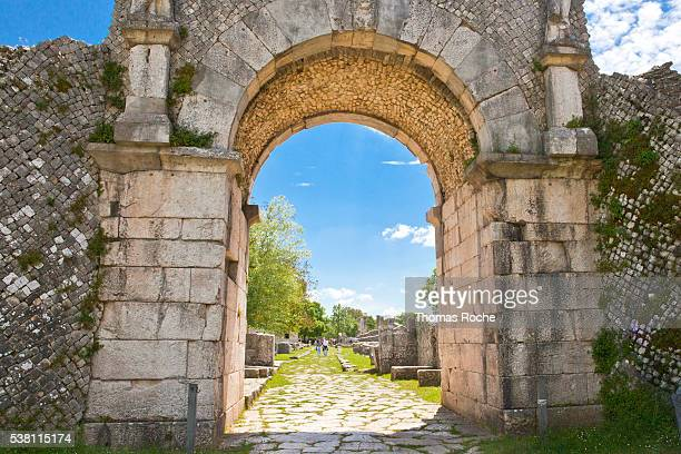A gate to Saepinum, a Roman town in th Molise region of Italy